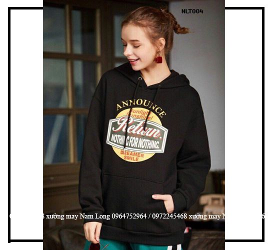 Áo khoác hoodie đen in chữ return nothing for nothing